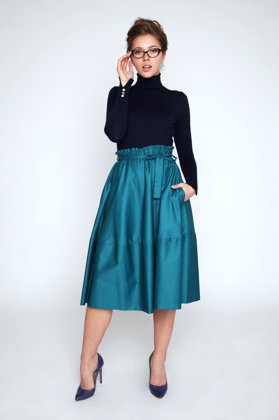EMERALD GREEN TRAPEZE SKIRT
