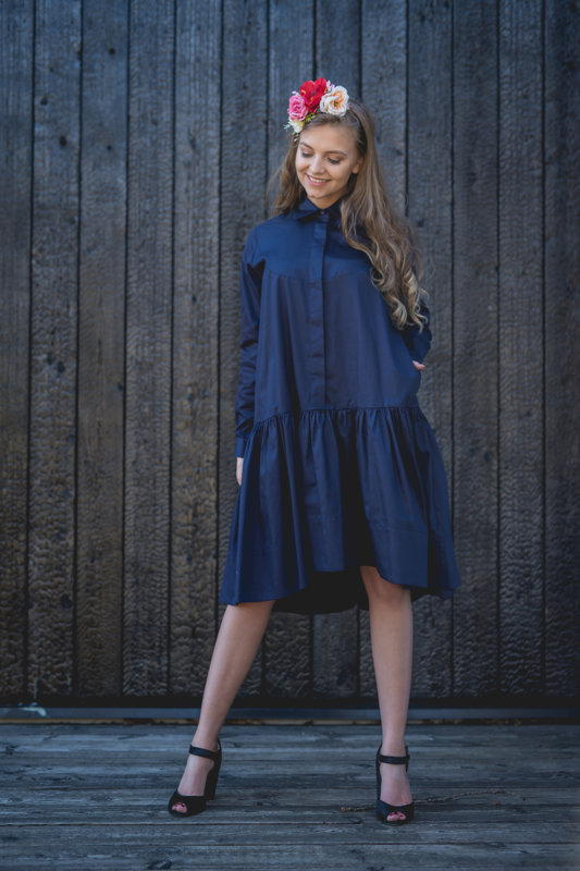 SAPPHIRE BLUE LONG SLEEVE SHIRT DRESS WITH FRILL HEM